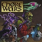 chore wars logo, with various fantasy types wielding brooms and mops